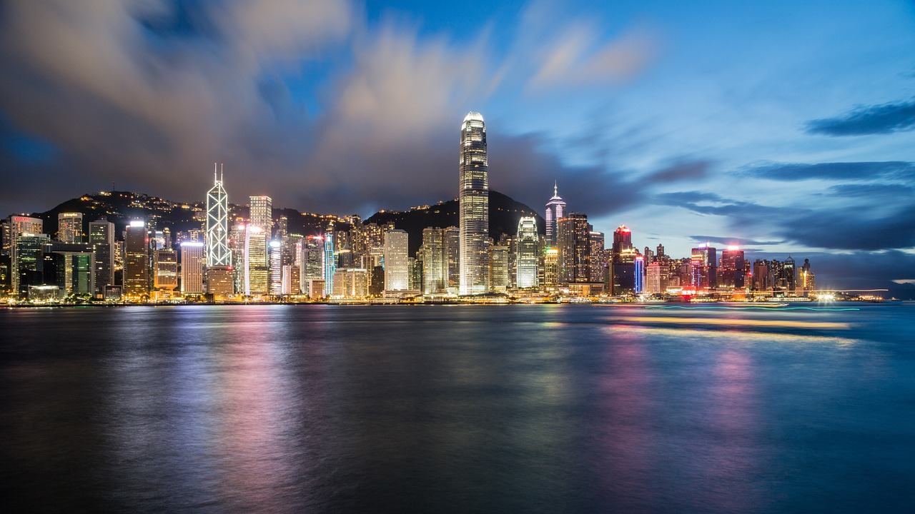 hong kong, china, night